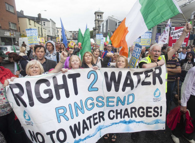 A Right2Water protest in Dublin in August 2015.