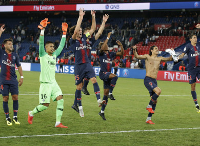 PSG players celebrate their 4-0 win.