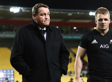 New Zealand coach Steve Hansen with Sam Cane.