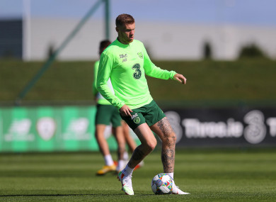 James McClean pictured training today.