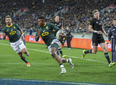 Aphiwe Dyantyi: scored a pair of tries for the Boks.