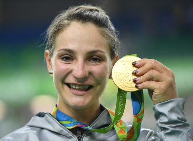 Vogel with her gold medal at the 2016 Rio Olympics.