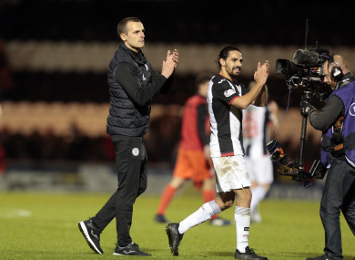 St Mirren manager Oran Kearney (left) and Ryan Edwards gesture to supporters.