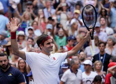 Roger Federer pictured at the US Open today.