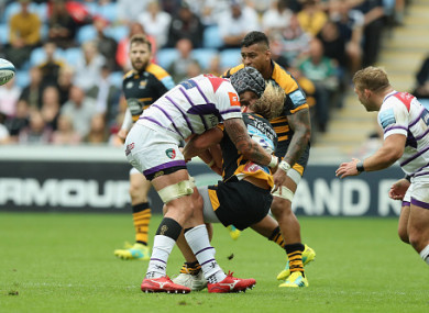Spencer was sent off for this tackle on Wasps hooker Tommy Taylor.