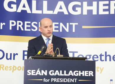 Seán Gallagher pictured at the launch of his campaign in the Shelbourne Hotel