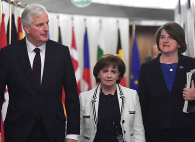 The EU's chief Brexit negotiator Michel Barnier with DUP leader Arlene Foster, (right) and DUP MEP Diane Dodds for at the European Commission headquarters in Brussels today.