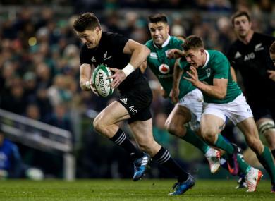 New Zealand's Beauden Barrett in action against Ireland in 2016.