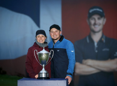 Eddie Pepperell and his partner pose during day four of the British Masters.