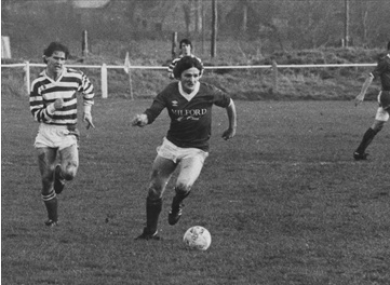 Con McLaughlin pictured playing against Shamrock Rovers in the 1982-83 season (credit: Finn Harps Media).