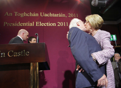 Michael D Higgins kisses his wife Sabina upon his election as President in 2011.