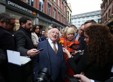 Michael D Higgins with his wife Sabina speaking to the media whilst on his campaign trail on Grafton Street this afternoon.