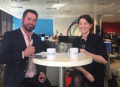 TheJournal.ie's Daragh Brophy with Áine Carroll of the Competition and Consumer Protection Commission.