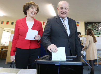 Presidential Candidate Gavin Duffy with his wife Orlaith Carmody, voting yesterday.