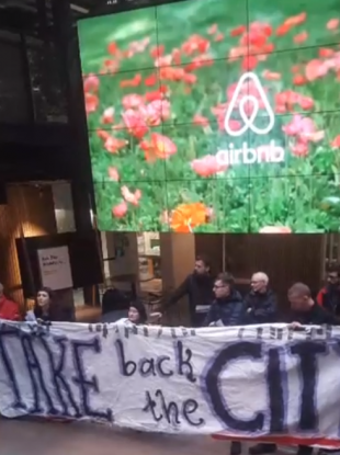 Activists at Airbnb HQ this afternoon