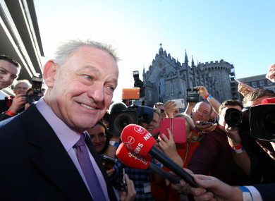 Peter Casey talks to the media at Dublin Castle today.
