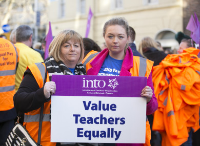 A Teachers pay protest earlier this year.