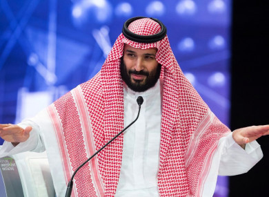 In this photo released by Saudi Press Agency, SPA, Saudi Crown Prince, Mohammed bin Salman addresses the Future Investment Initiative conference, in Riyadh.
