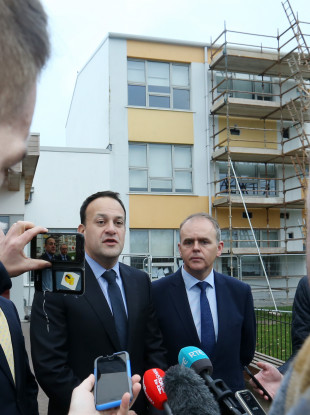 Taoiseach Leo Varadkar and Minister for Education and Skills Joe McHugh speaking outside Tyrrelstown Educate Together School in Dublin