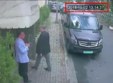 A still image from a security camera claims to show Jamal Khashoggi arriving at Saudi Arabia's consulate in Istanbul.