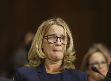 Dr Christine Blasey Ford speaks before the Senate Judiciary Committee hearing