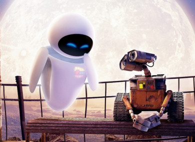 Well known robotic workmates Wall-E and Eve.