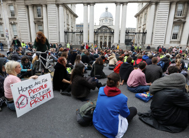 Crowds of housing protesters gathered outside government buildings on 30 October