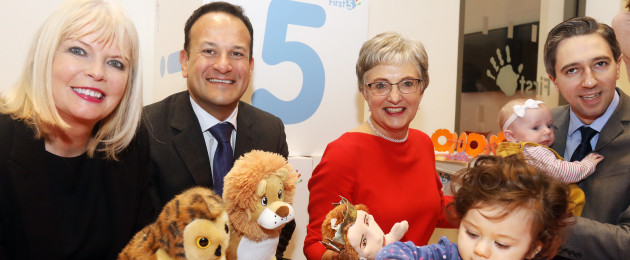 Minister of State for Higher Education, Mary Mitchell O'Connor, Taoiseach Leo Varadkar, Minister for Children Katherine Zappone, and Minister for Health Simon Harris at the launch of 'First 5'