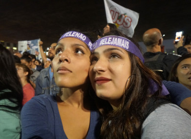 Students at a demonstration of resistance against Bolsonaro.