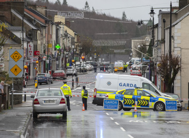 Garda sealing off the scene in Castleblayney yesterday.