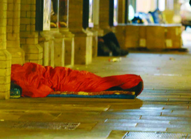 A rough sleeper on the streets of Dublin (File photo)