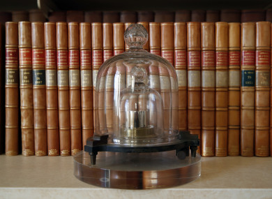 A replica of the International Prototype Kilogramme.