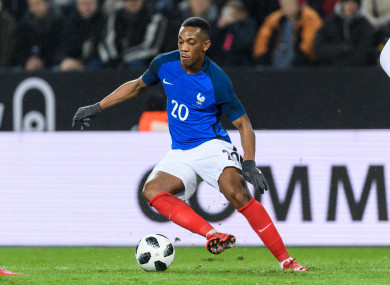 The 22-year-old hasn't played for France since last March.