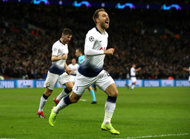 Eriksen celebrates his all-important winner.
