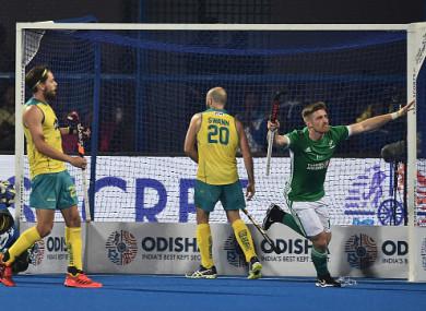 Shane O'Donoghue celebrates Ireland's equaliser.