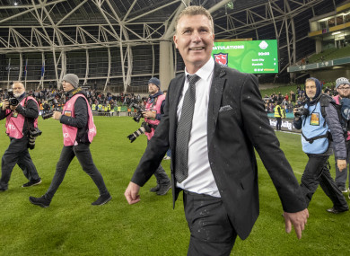 Kenny celebrates winning the FAI Cup two weeks ago at the Aviva Stadium.