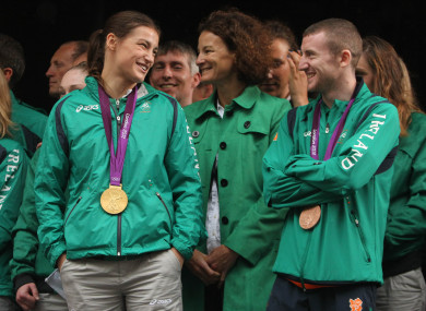 File photo; Katie Taylor and Paddy Barnes wearing their gold and bronze boxing medals after the 2012 Olympics.