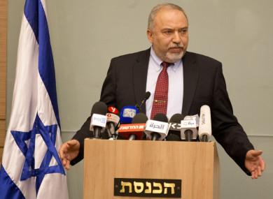 Israeli Defense Minister Avigdor Lieberman delivers a statement at the Knesset