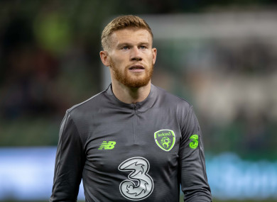 James McClean is expected to feature for the Republic of Ireland against the North on Thursday,