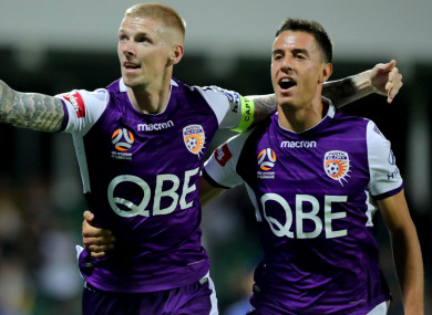 Andy Keogh (left) celebrates after scoring Perth Glory's opener against Brisbane Roar.