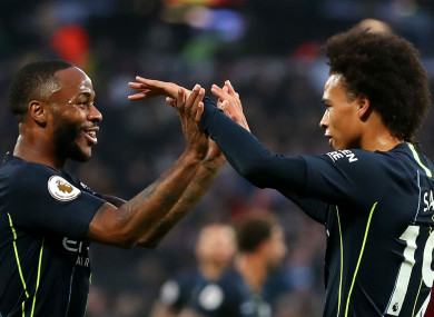 On the mark: Raheem Sterling and Leroy Sane.