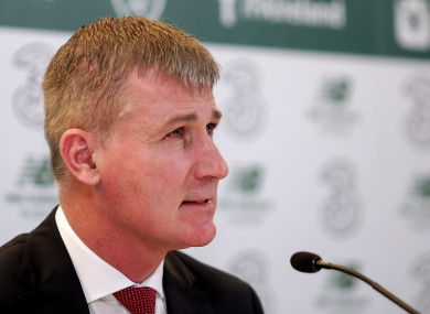 Stephen Kenny speaks at today's press conference.