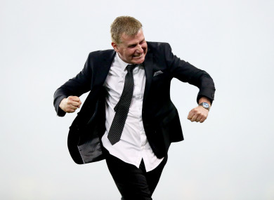 Stephen Kenny celebrates at the final whistle of yesterday's FAI Cup final.