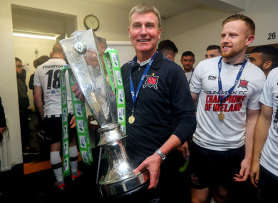 Kenny pictured with the SSE Airtricity League trophy at Oriel Park.
