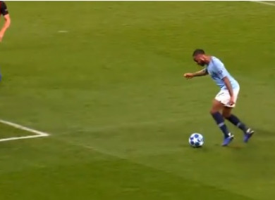 Raheem Sterling lost his balance and tripped himself up but was awarded a penalty by referee Viktor Kassai
