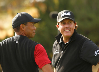 Long-time rivals Tiger Woods and Phil Mickelson (file pic).