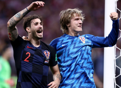 Sime Vrsaljko and Tin Jedvaj celebrate for Croatia