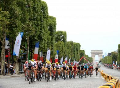 A view of riders at the 2017 Tour de France.