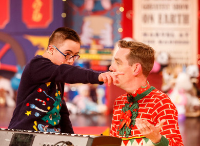 Leo Javaherian aged 12 from Naas with Ryan Tubridy during Friday night's Toy Show.