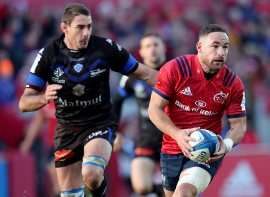 Alby Mathewson in action against Castres at Thomond Park.